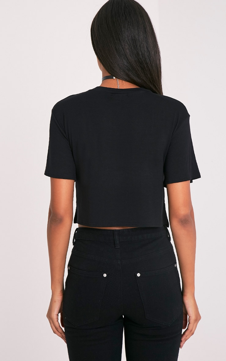 Slay Black Slogan Cropped T Shirt 2