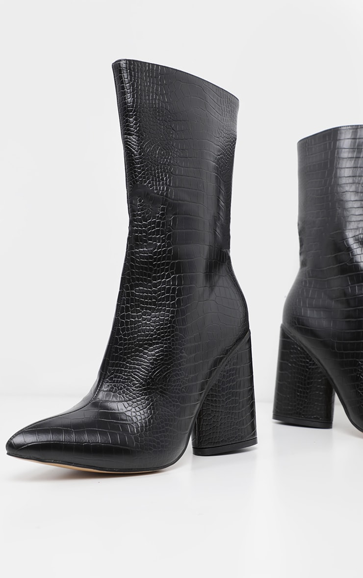 Black Croc Chunky Block Heel Point Toe Boot 3