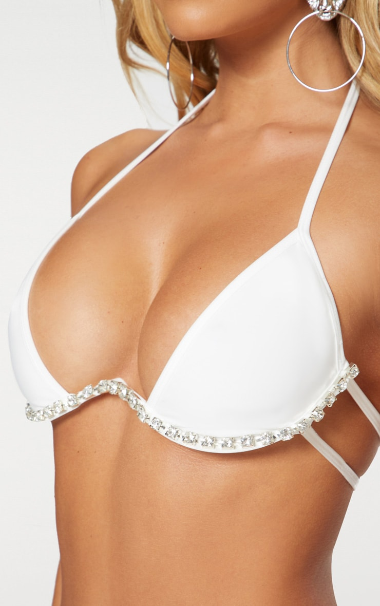 White Diamante Cleavage Wire Bikini Top 4