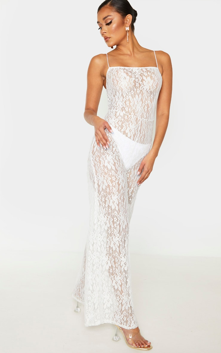 White Sheer Lace Strappy Jumpsuit 4