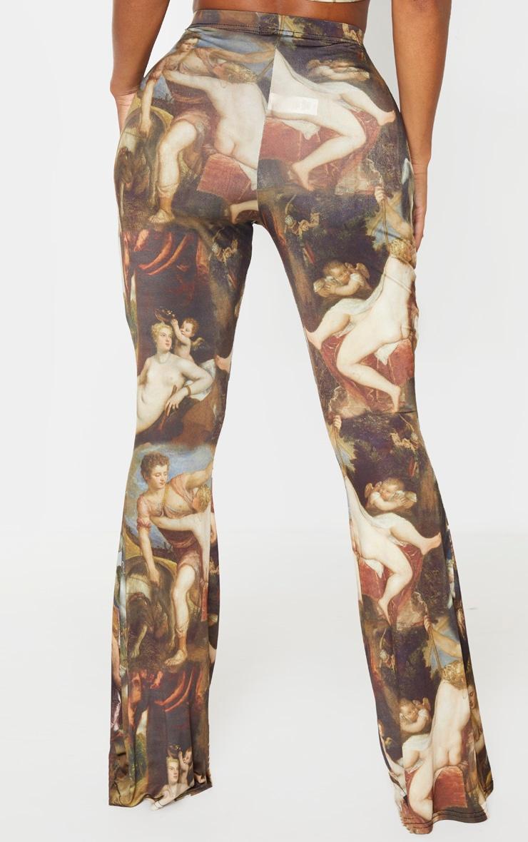 Shape Multi Oriental Print Slinky Flared Pants 4