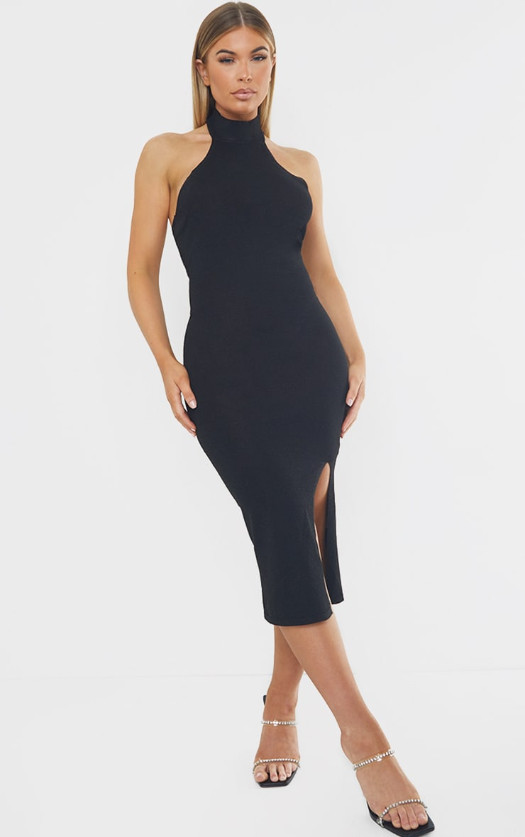 Black Premium Knit Choker Detail Split Front Glitter Midi Dress 1