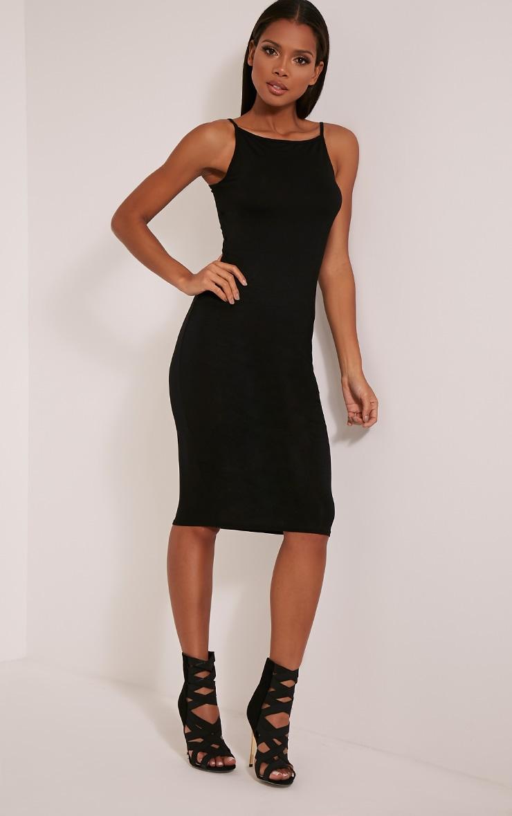 Basic robe midi à col nageur noire 5