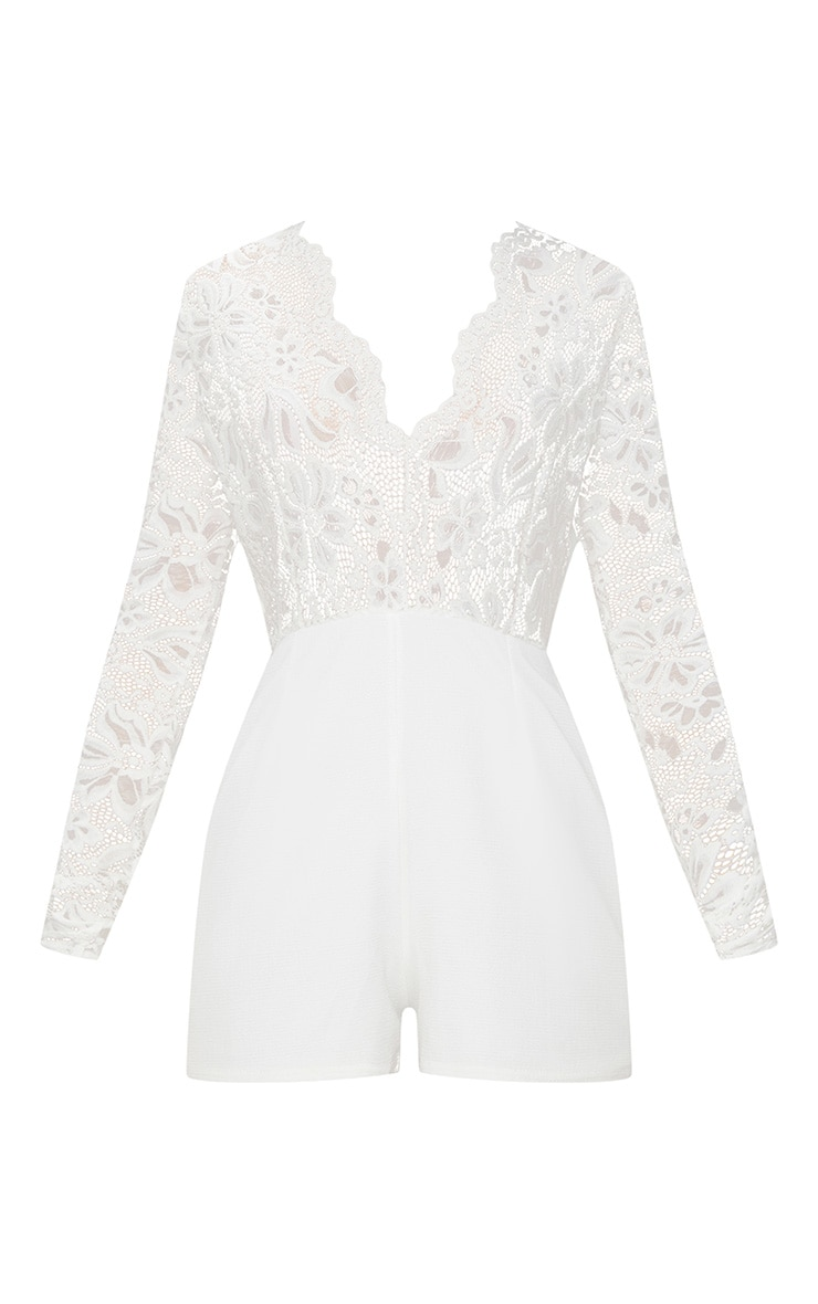 White Lace Long Sleeve Plunge Playsuit 3