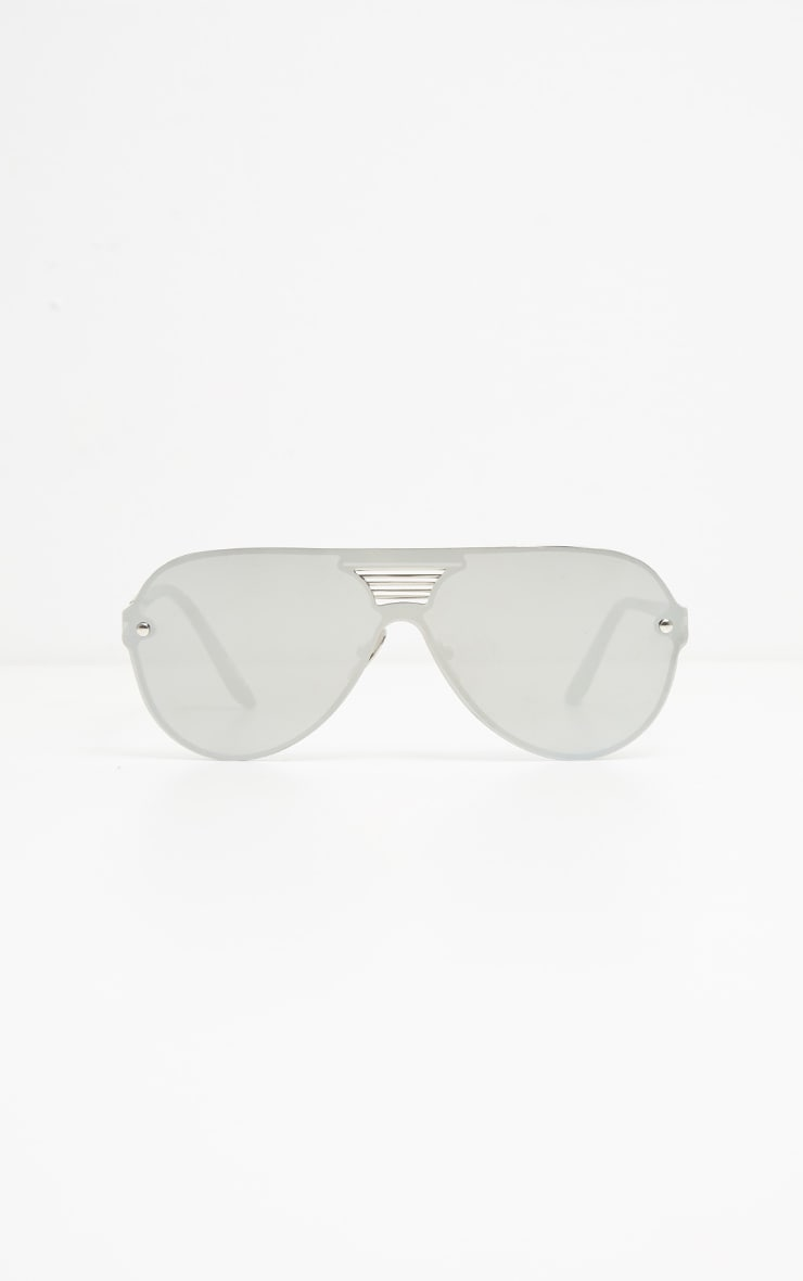 Silver Mirror Oversized Aviator 2