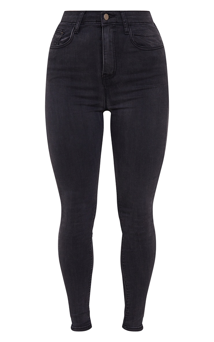 PRETTYLITTLETHING Washed Black 5 Pocket Skinny Jean 5