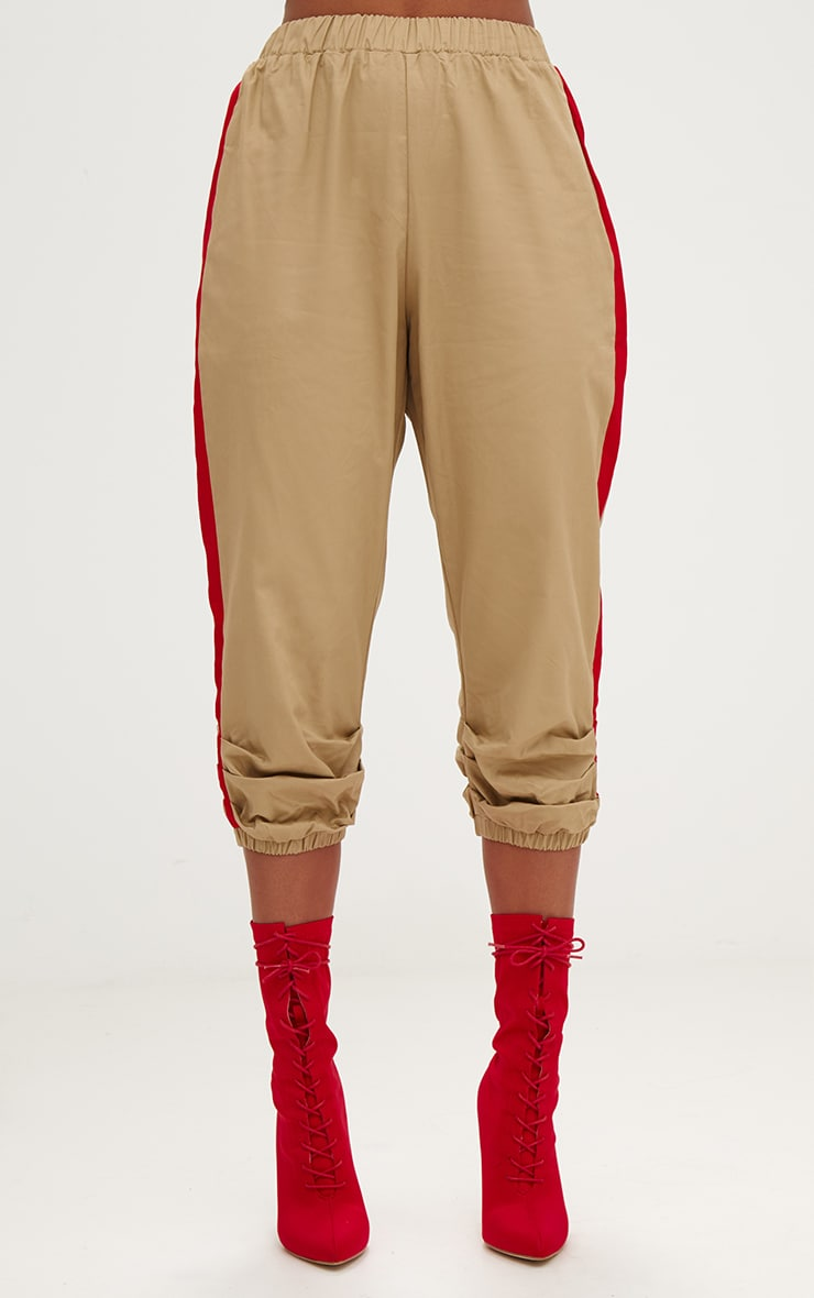 Stone Cropped Contrast Stripe Cargo Trousers 2