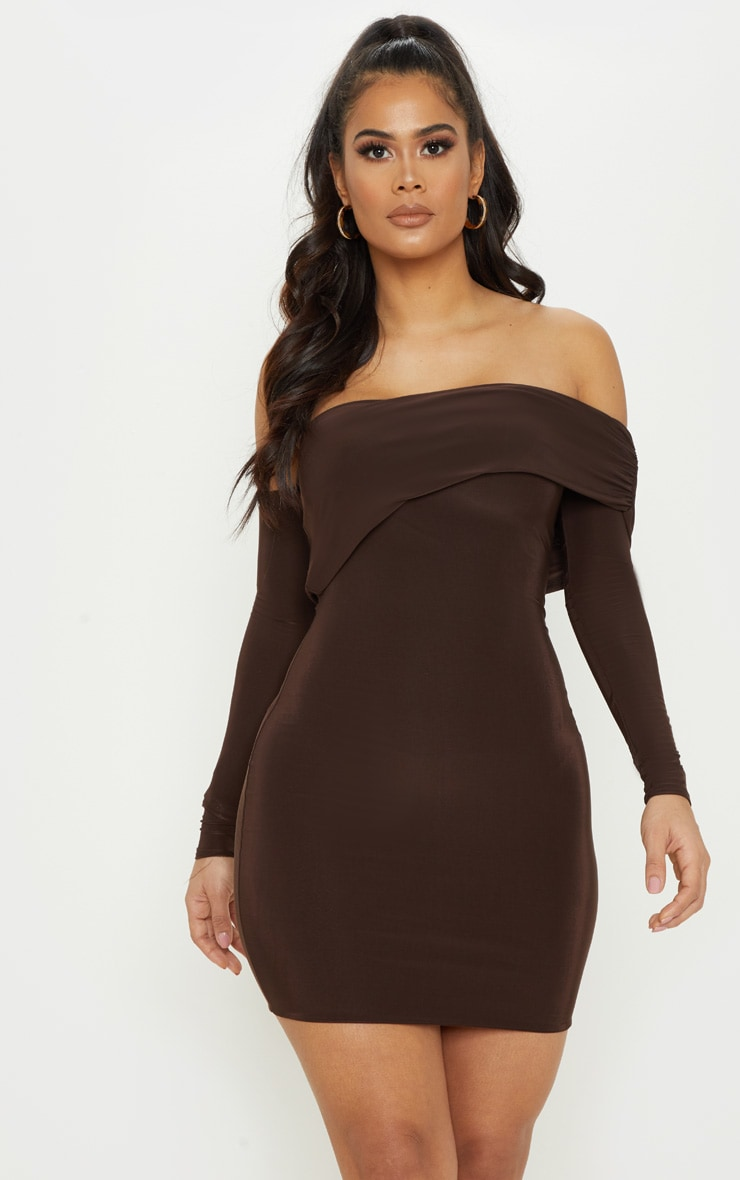 Chocolate Brown Slinky Fold Over Bodycon Dress 1