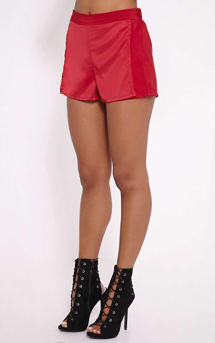 Bebe Red Panel Tailored Shorts 3