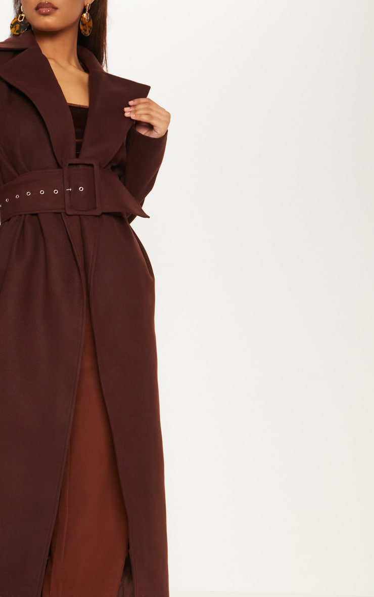 Tall Chocolate Brown Belted Coat  5