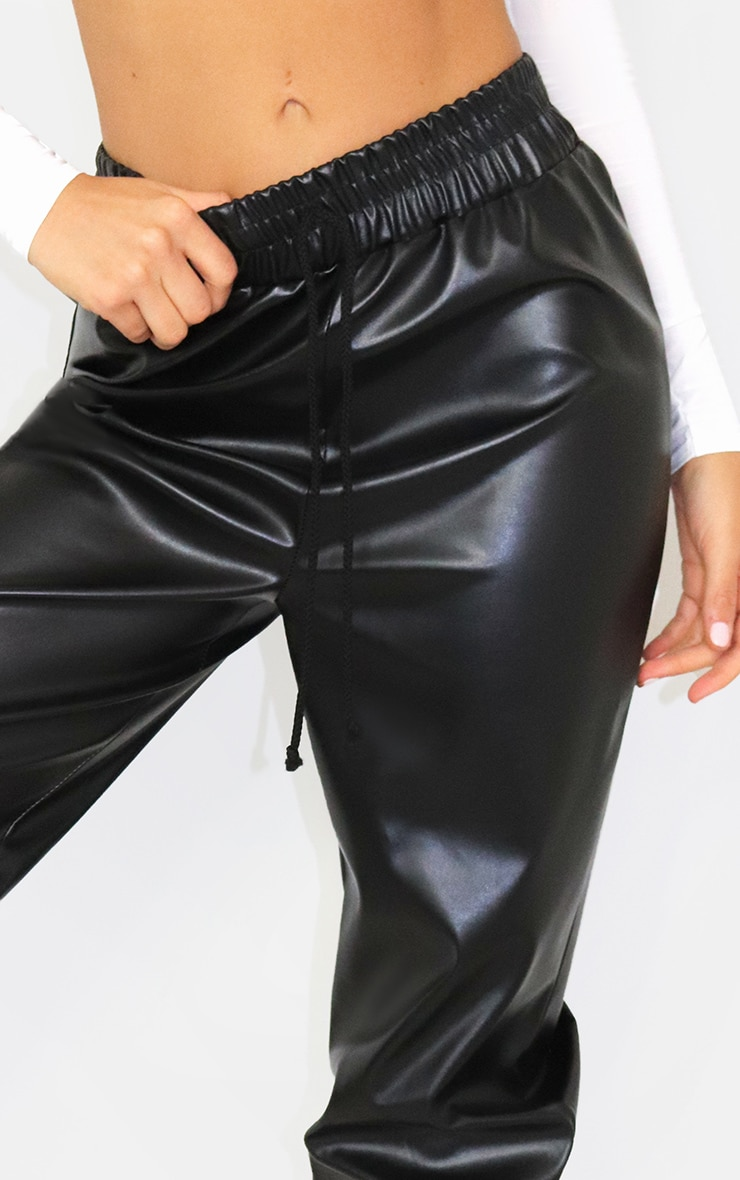 Black PU Tie Detail Joggers 4