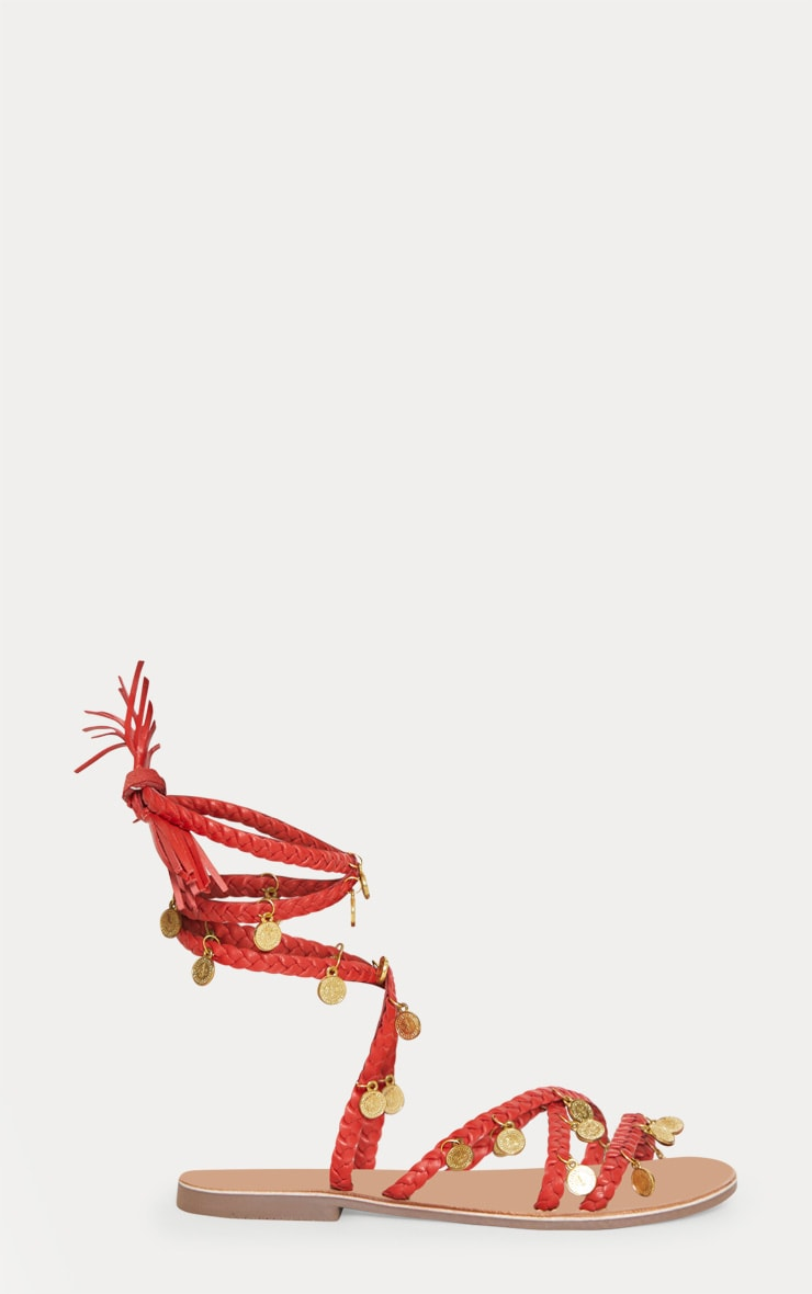 Red Coin Plaited Sandals 3