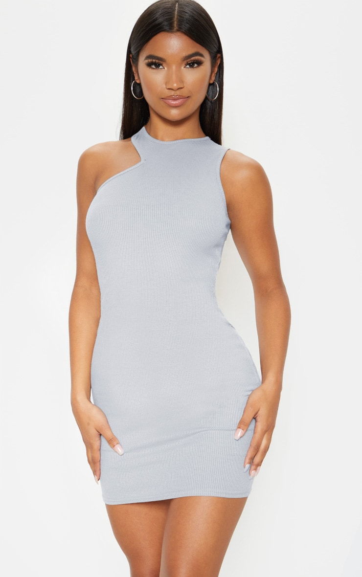 Grey Ribbed Cut Out Neck Detail Bodycon Dress 1