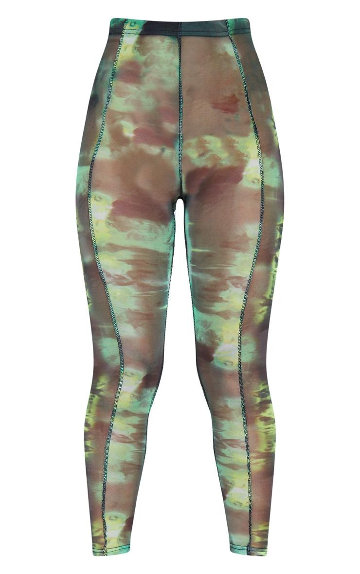 Green Abstract Water Colour Print Sheer Mesh Binding Leggings 7