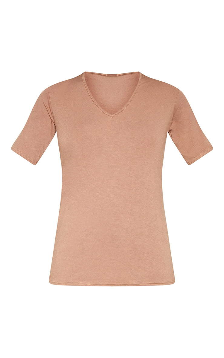 Tall Camel Basic V Neck T shirt  3