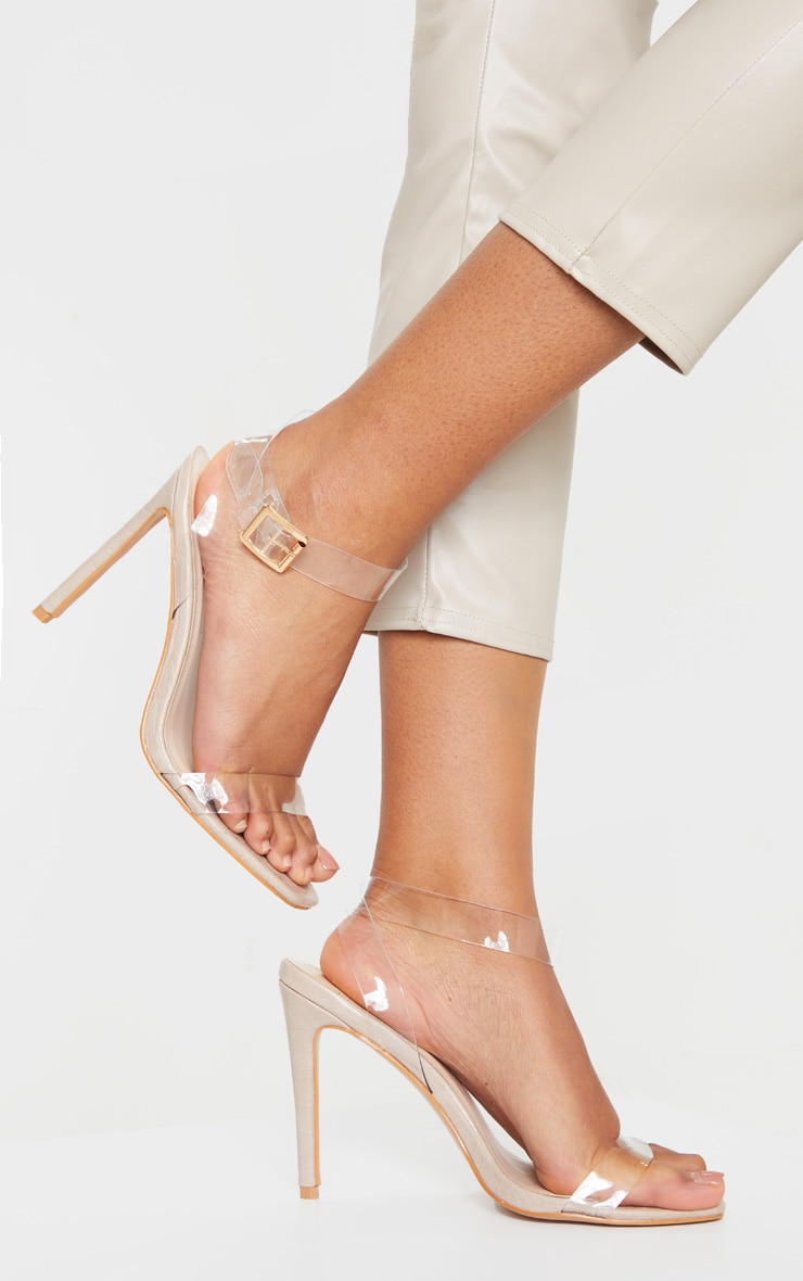 Nude Croc Clear Strap Square Toe Heeled Sandal 1