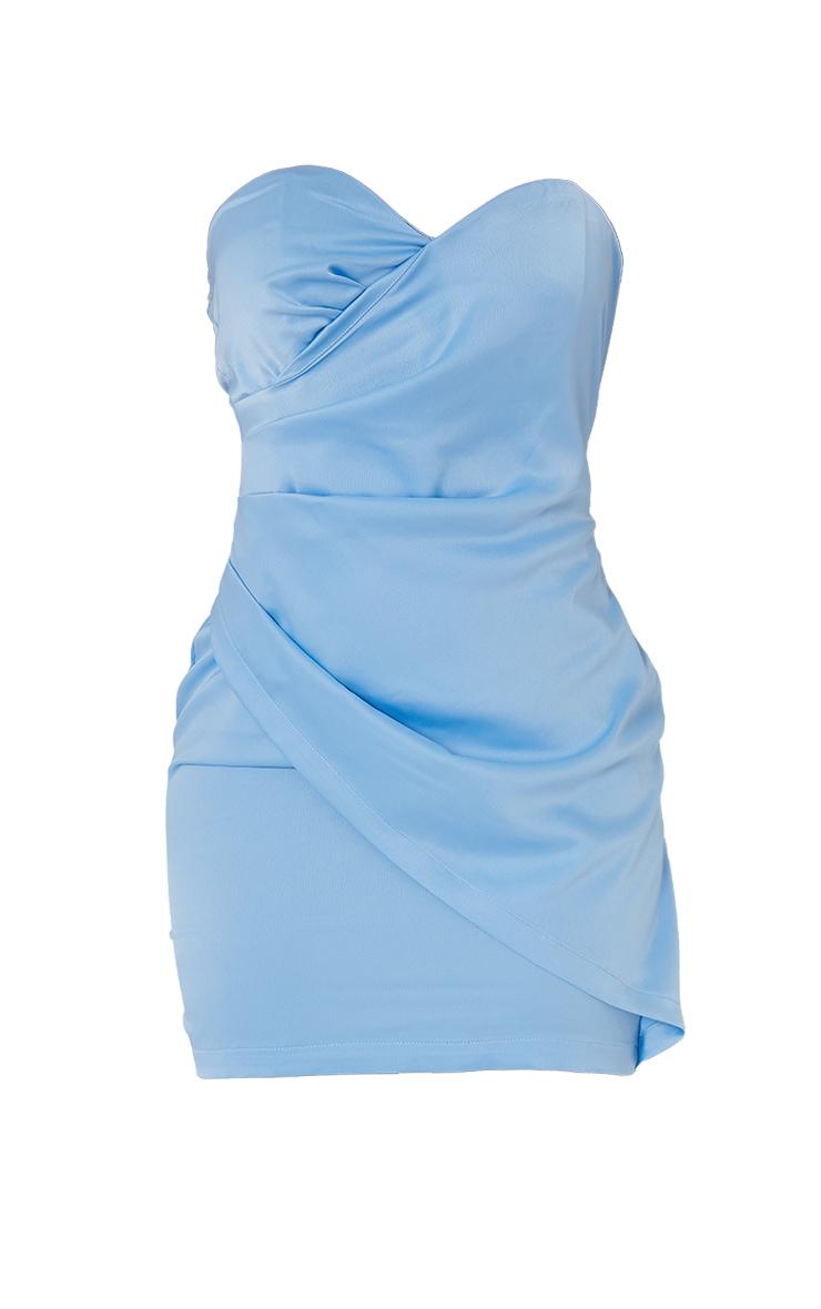 Blue Satin Bandeau Wrap Detail Bodycon Dress 5