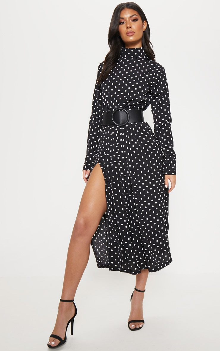 Monochrome Polka Dot High Neck Pleat Front Midi Skater Dress 1