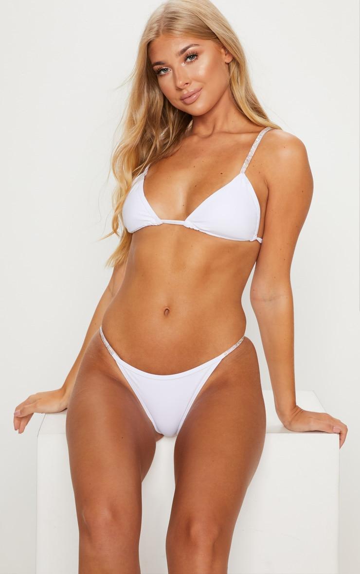 White Diamante Strap Bikini Bottom