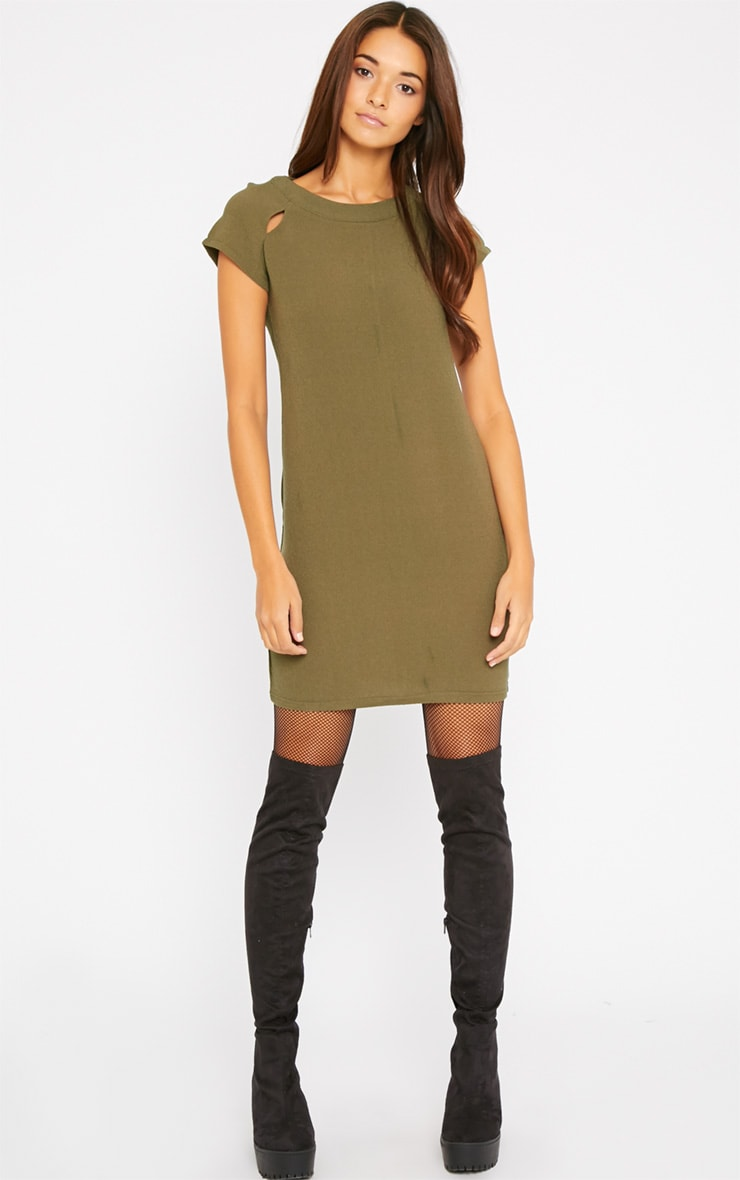 Hannah Khaki Waffle Shift Dress 3