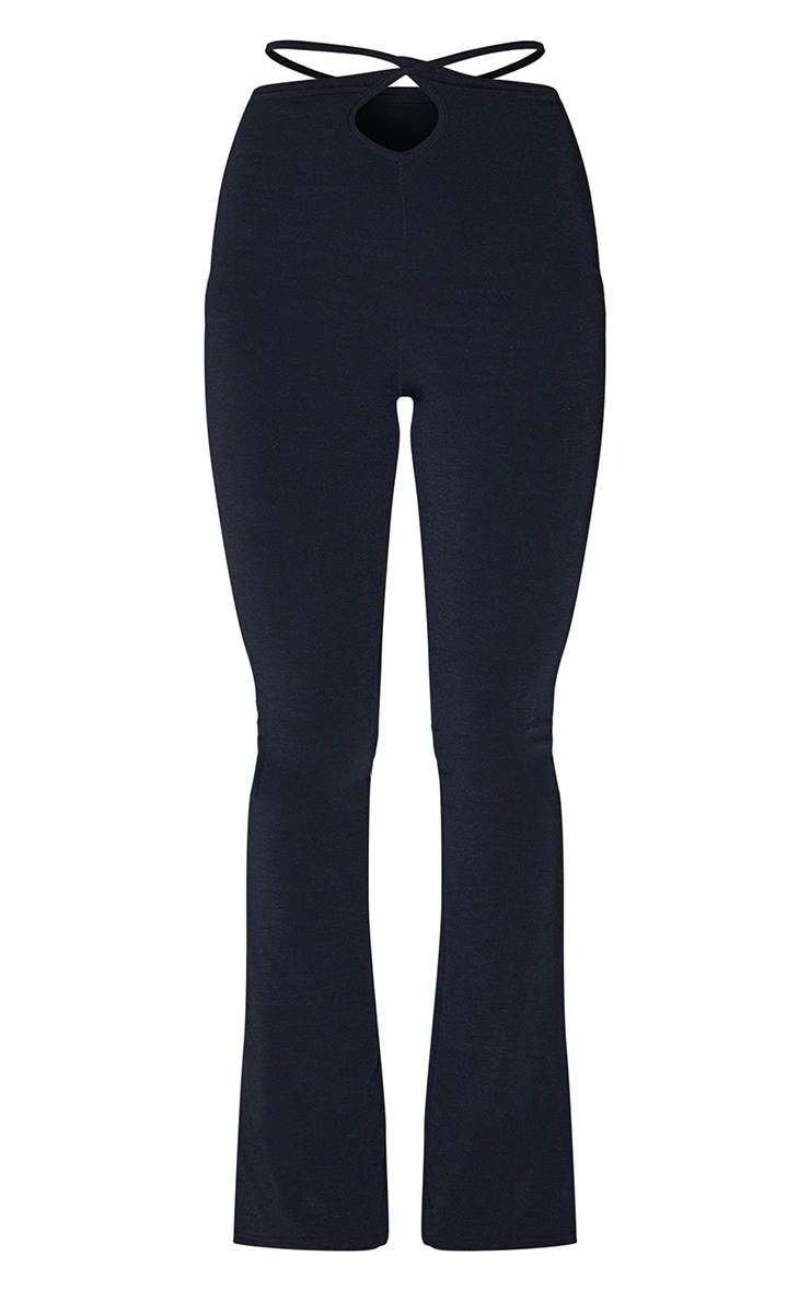 Recycled Black Contour Jersey Tie Waist Flared Pants 5