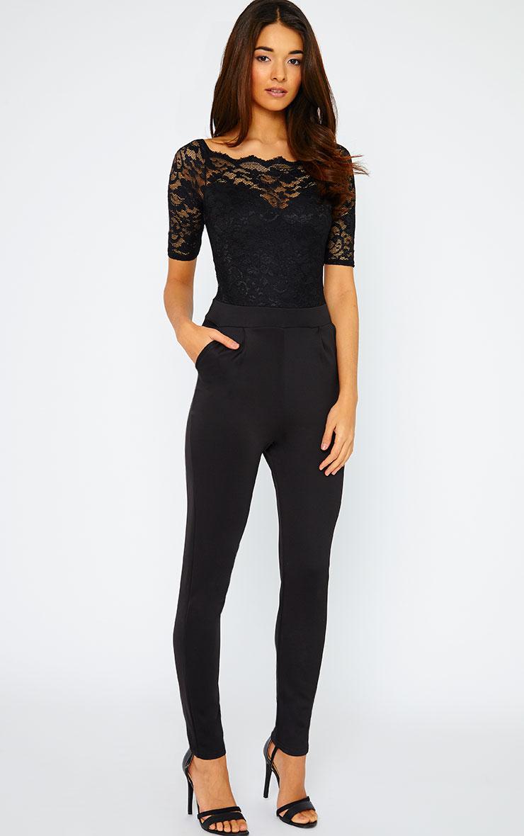 Leila Black SS Lace Jumpsuit 3