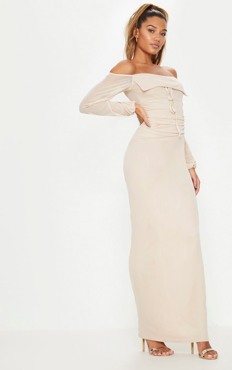 Nude Mesh Ruched Square Neck Maxi Dress 4