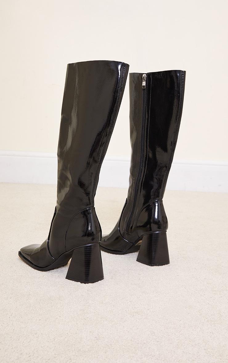 Black Mid Heel Flare Block Square Toe Knee Boots 4