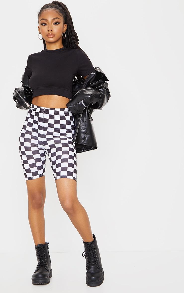 Monochrome Checkerboard Bike Shorts 1