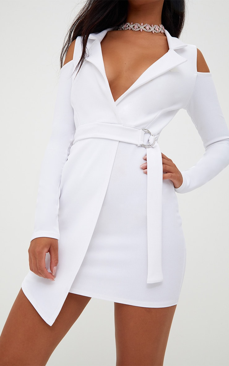 White Cold Shoulder Blazer Dress 5