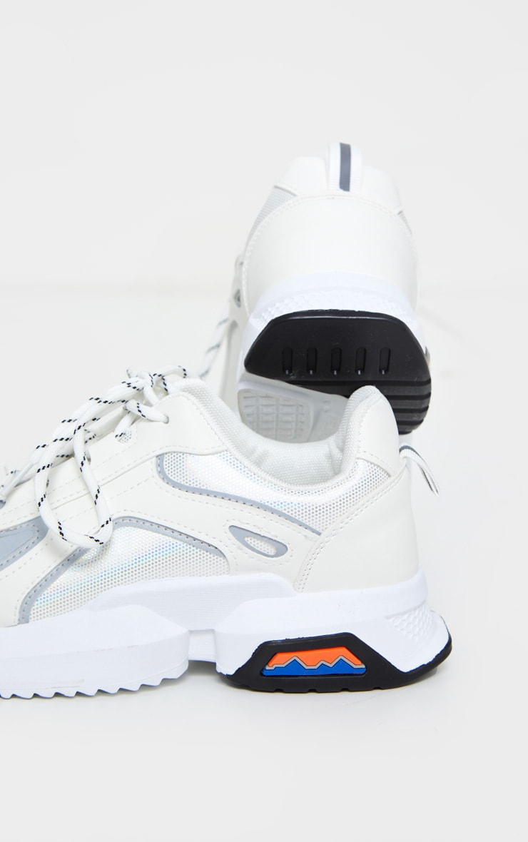 White Chunky Reflective Panelling Sneakers 3