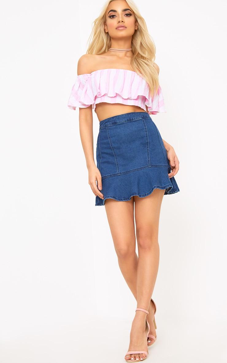 Sophina Pink Cotton Stripe Bardot Crop Top 4