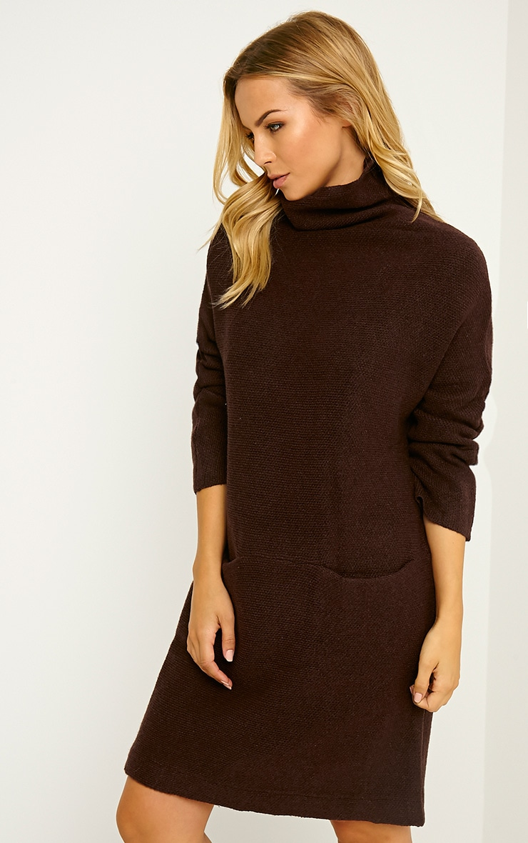 Nim Chocolate Brown Oversized Knitted Dress 4