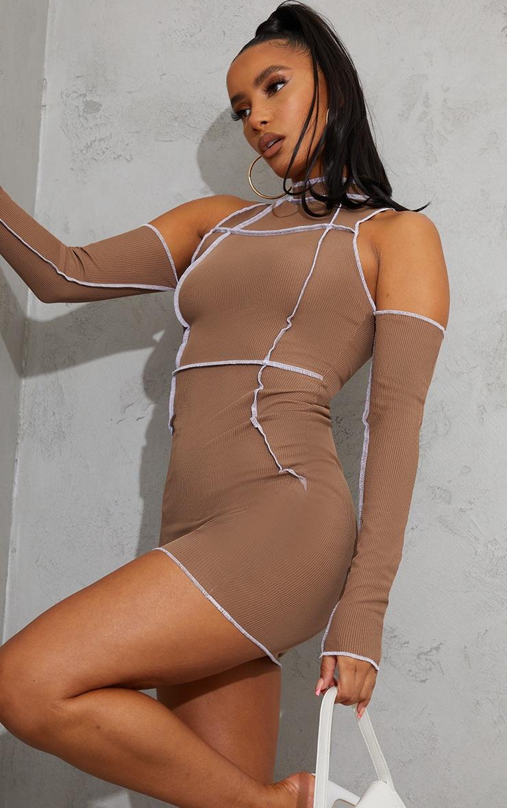 Taupe Ribbed Overlock Stitch Detail High Neck Bardot Bodycon Dress 4