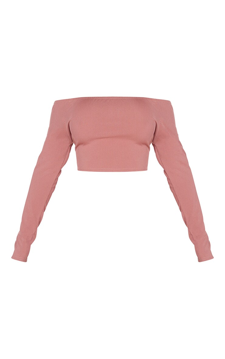 Shape Rose Ribbed Bardot Long Sleeve Crop Top 5