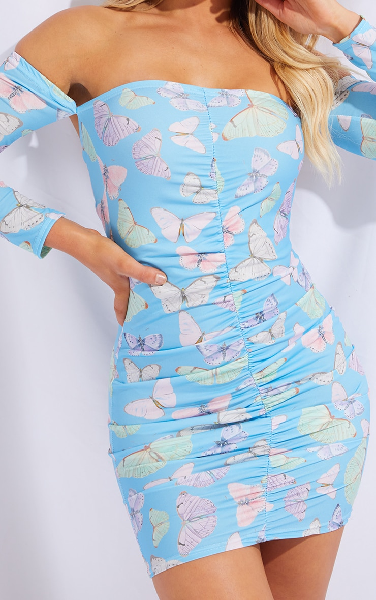 Blue Butterfly Print Slinky Ruched Bardot Bodycon Dress 4