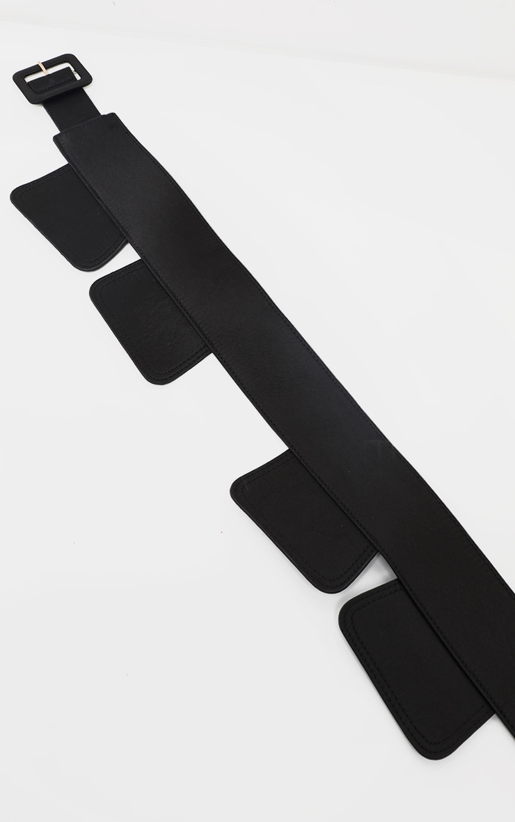 Black Panelled Satin Waist belt 3