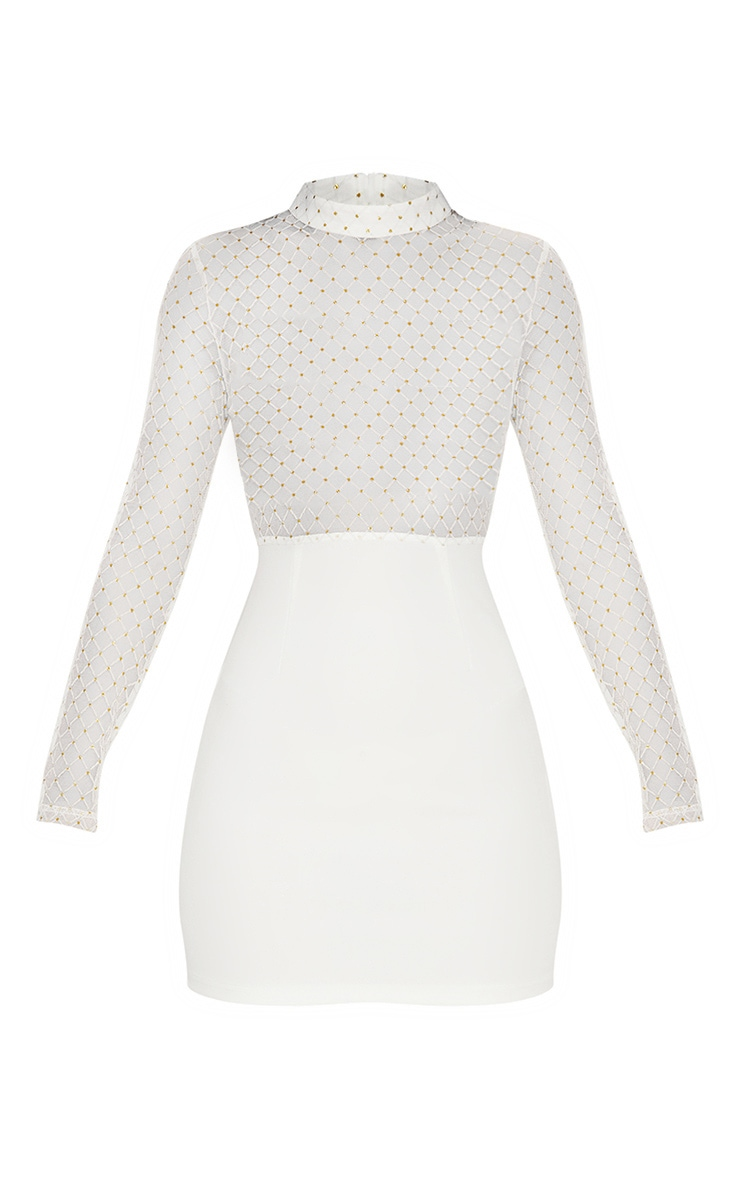 White Criss Cross Mesh Top Bodycon Dress 3