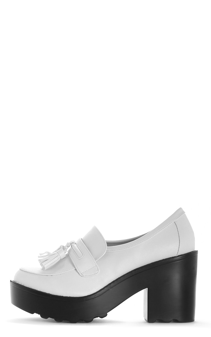Georgia White Heeled Tassel Loafer  1