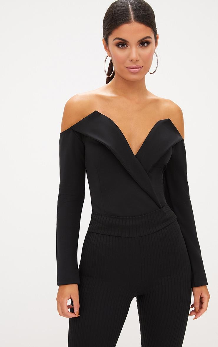 Black Tux Blazer Detail Bardot Bodysuit  1