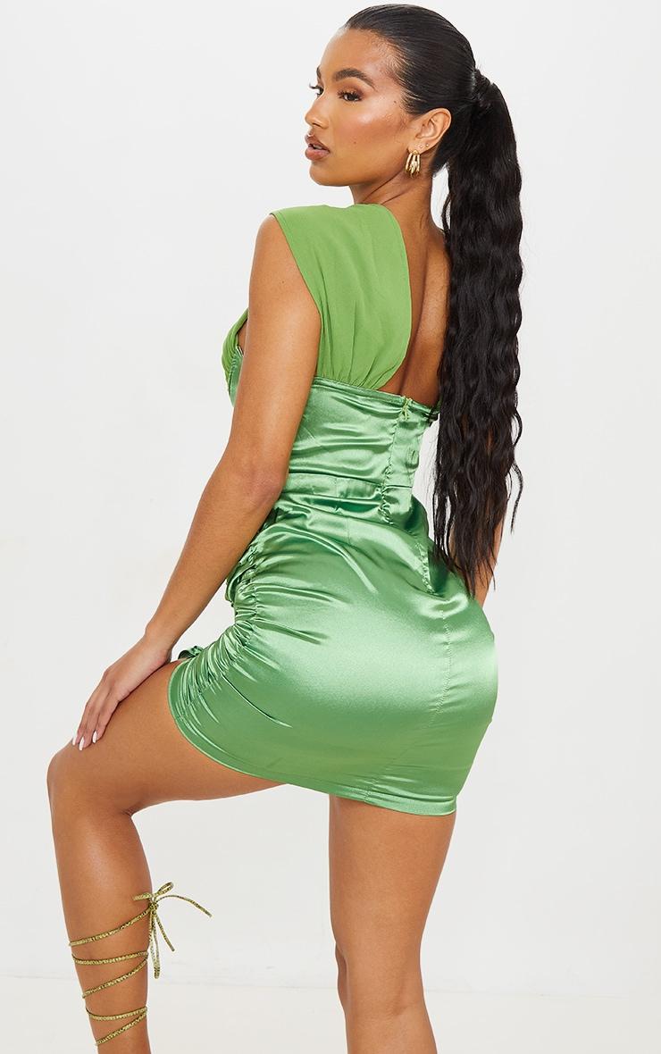 Green Satin Halterneck Underbust Ruched Bodycon Dress 3