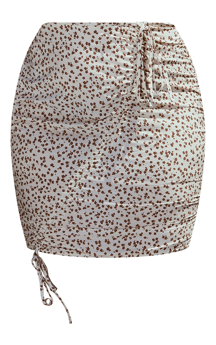Plus Beige Floral Print Ruched Front Mini Skirt 4