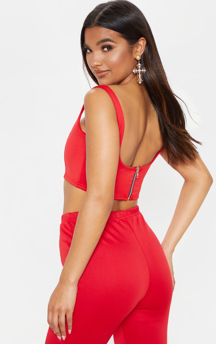 Red Square Neck Zip Back Crop Top 2