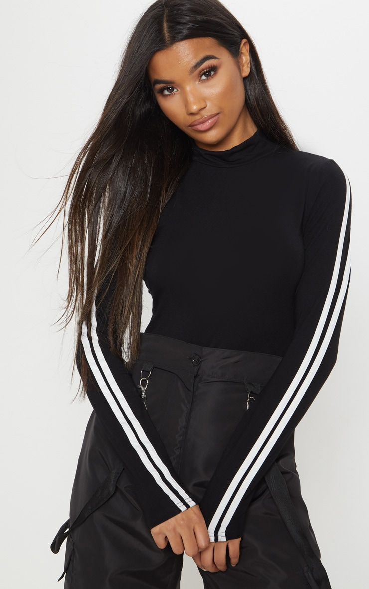 Black High Neck Stripe Long Sleeve Bodysuit 1
