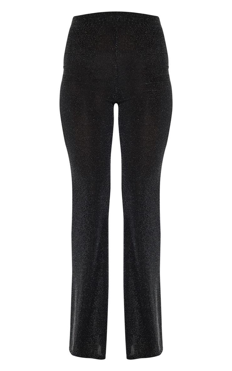 Black Glitter Flared Leg Pants 3