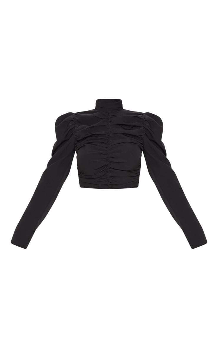 Black Ruched High Neck Top 3
