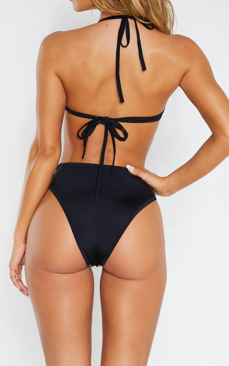 Black V Front High Leg Jewelled Bikini Bottom 5