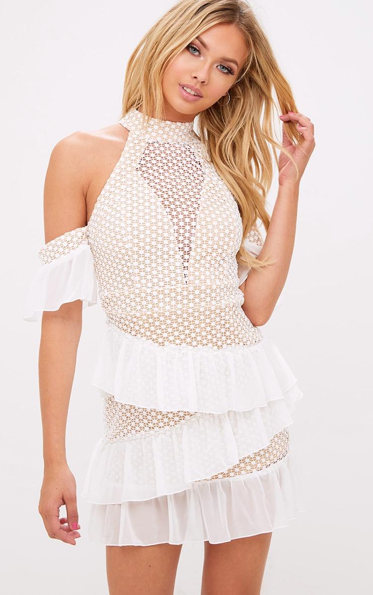 White Crochet Mesh Frill Detail Bodycon Dress 1