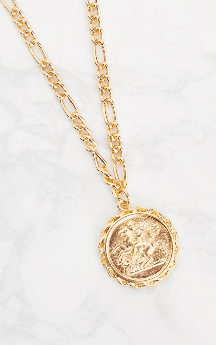 Gold Coin Pendant Chain Choker 4