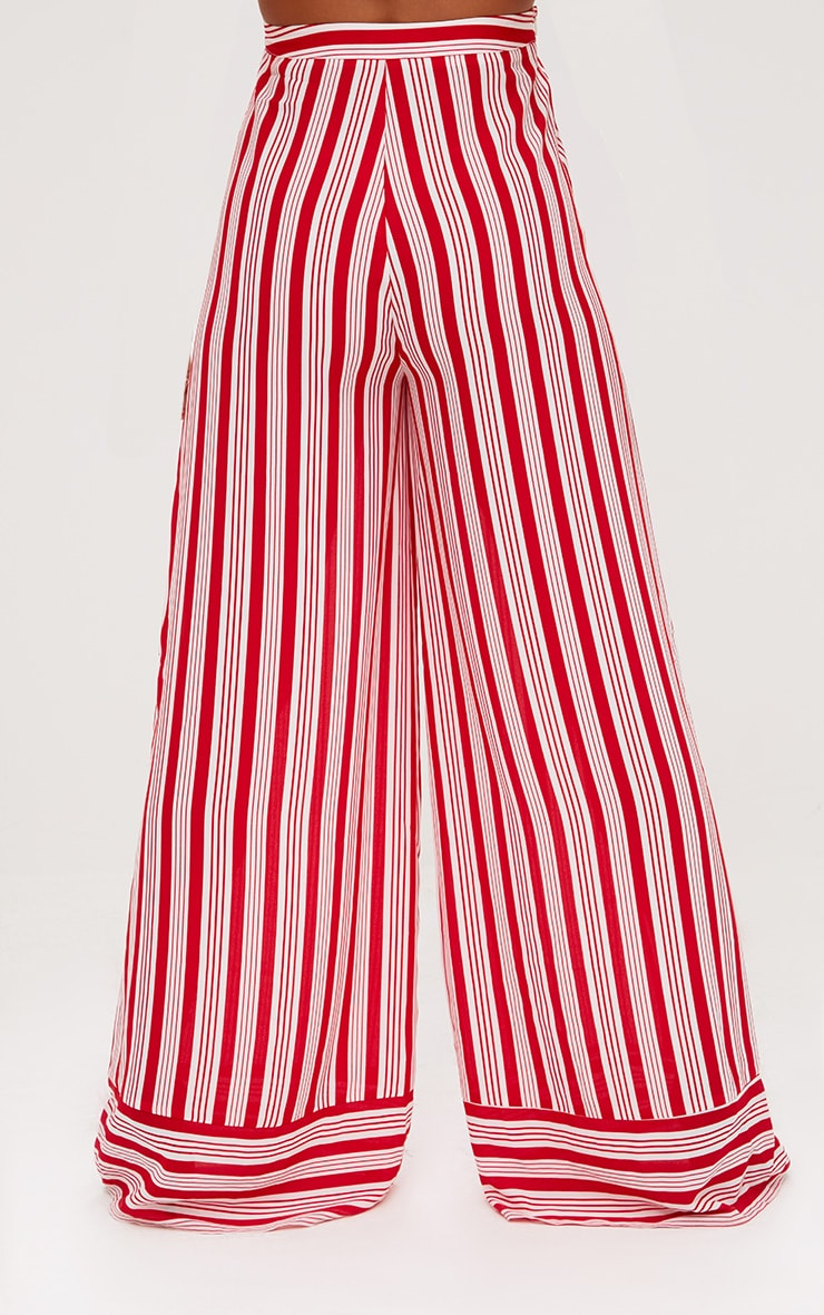 Red Contrast Stripe Mix Wide Leg Trousers 4